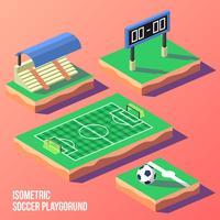 Vector isométrico del patio del fútbol