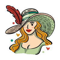 Kentucky Derby Hat Illustration with Beautiful Girl