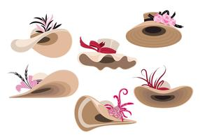 Illustration Set of Woman Derby Hats