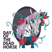 Caballo Sugar Skull Illustration Estilo para el Día de los Muertos