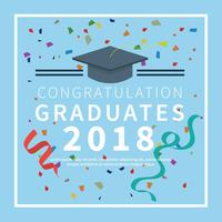 Graduation Card With Blue Background Illustration