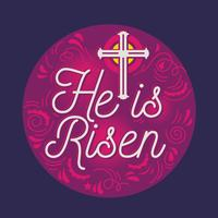 Modern Vector lettering He is Risen Happy Easter