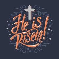 He is Risen, Vector Easter Religious Typographical Vector