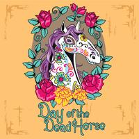 Close-up Horse Face with Sugar Skull Illustration Style