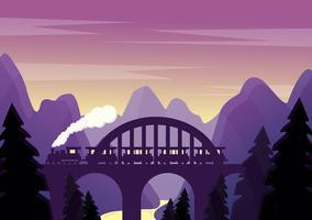 Paisagem roxa de vetor com ponte