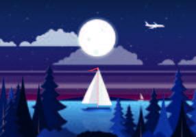 Vector diseño de paisaje nocturno
