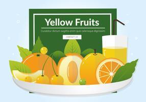 Vector frutas amarillas frescas