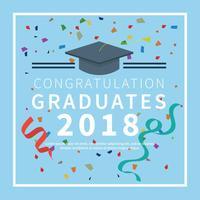 Tarjeta de graduación con ilustración de fondo azul