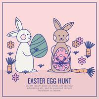 Vector tarjeta de caza de huevos de Pascua