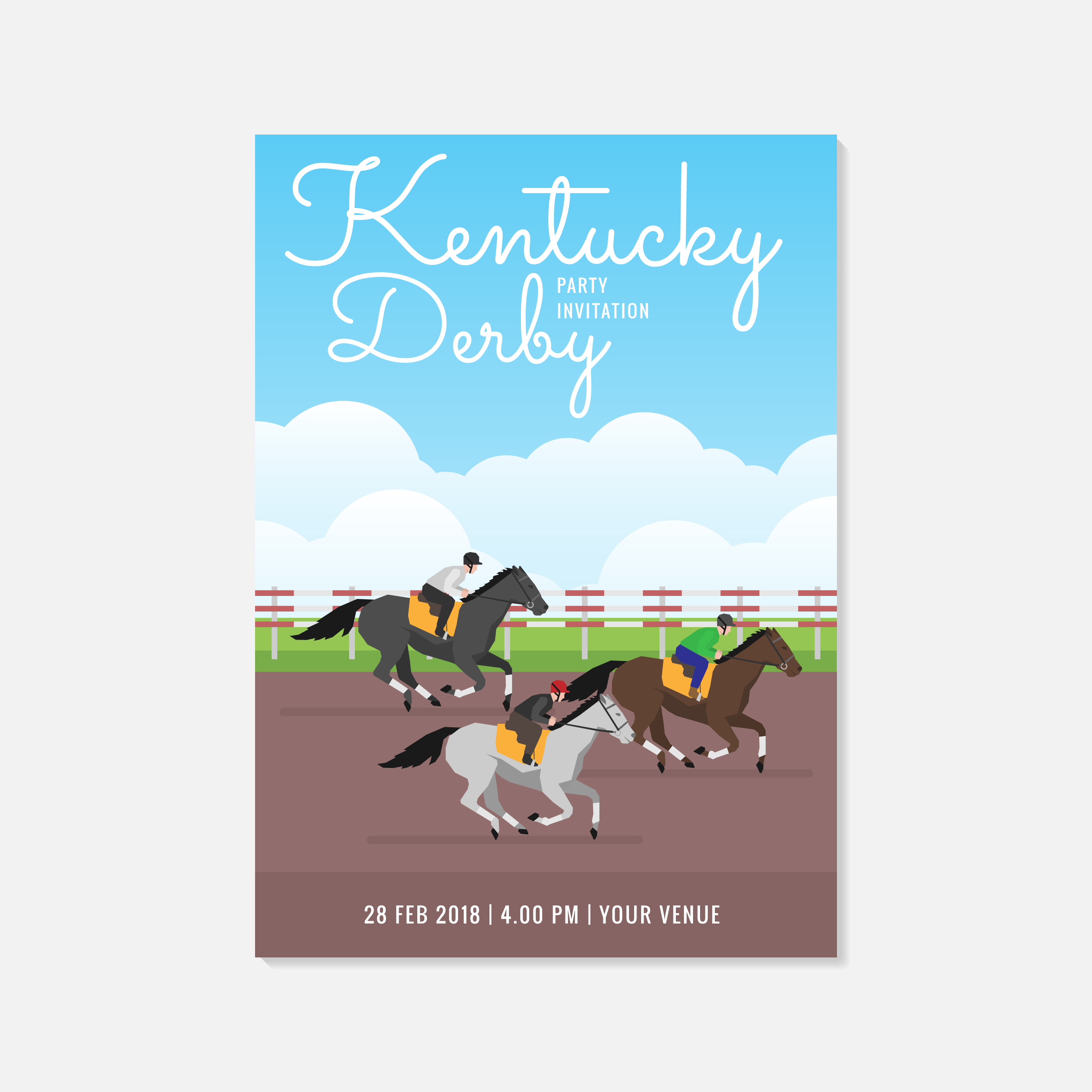 Kentucky Derby Party Invitation Template - Download Free Vectors