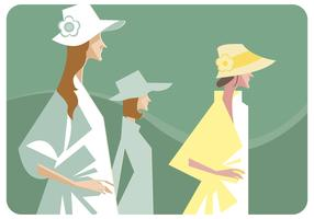 Womens avec chapeau vecteur