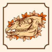 Dia de mão desenhada da ilustração vetorial de cavalo morto