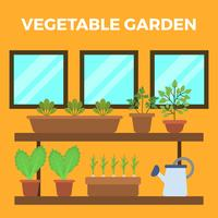 Platt Vegetabilisk Trädgård Vektorillustration
