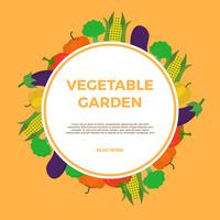 Flat Vegetable Garden Vector Illustration
