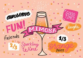 Mimosa drink recipe vector