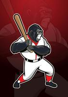 Gorilla Baseball Mascot Logo vector