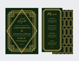 Cartão de casamento Art Deco