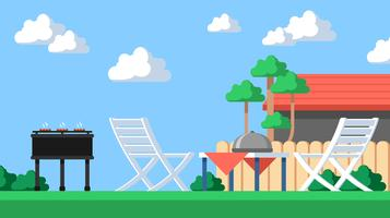 Landscape Backyard Barbecue Vector