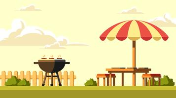 Backyard Barbecue In The Afternoon Vector
