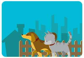 Walking Puppy and Kitty Vector