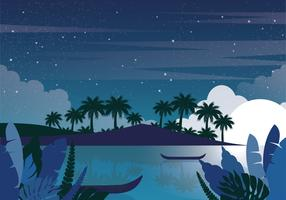Vector Night Landscape Illustration