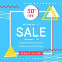 Vector Summer Memphis Bannière de vente