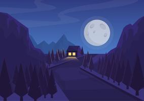Vetorial, noite, paisagem, ilustração