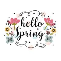 Hello Spring Vector Background