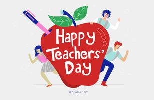 Tipografía de Fun Teachers Day en la ilustración de Vector de Apple rojo