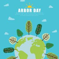 The World With Arbor Day vector