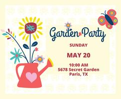 Cute Garden Party Invitation Vector