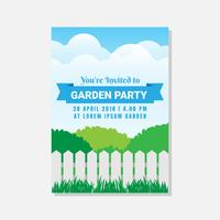 Garden Party Invitation Or Greeting Card Template