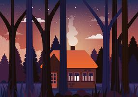 Vector House in Forest Illustration