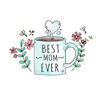 Cute Mug With Flowers And Leaves With Heart To Mother's Day