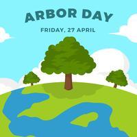 Flat Arbor Day Vector Illustration