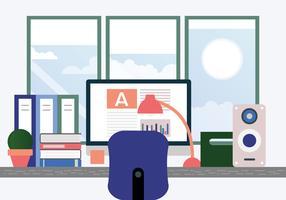 Ilustração de mesa de designers de vetor