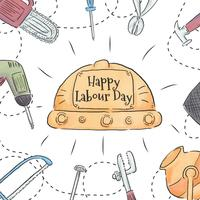 Watercolor Construction Tools Around With Helmet In The Center To Labour Day