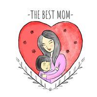 Mère mignonne avec petite fille à l'intérieur du coeur rouge et des feuilles autour
