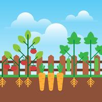 Städtische im Garten arbeitende wachsende Gemüse-flache Design-Illustration