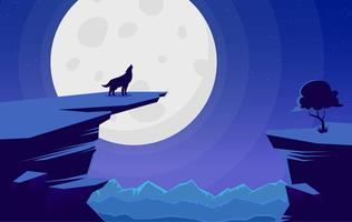 Vector Landscape with Wolf Illustration