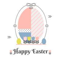 Flacher glücklicher Ostern-Hintergrund-Vektor