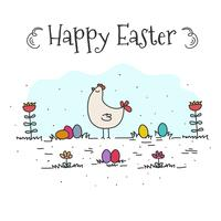 Doodle Happy Easter Background Vector