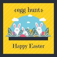 Huevo de Pascua, caza, tarjeta, vector