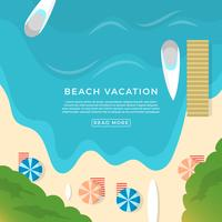 Illustration vectorielle de plage plat vacances