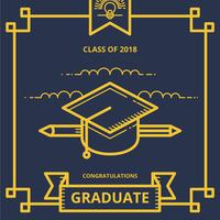 Graduation Card Illustration hälsningar med Graduation Hat och Diploma Letter
