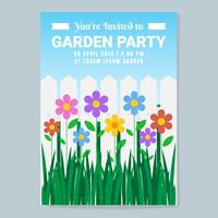Vector Garden Party Invitation With Flowers Illustration