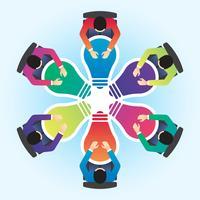 Idéia e conceito de negócio para ilustração vetorial de trabalho em equipe