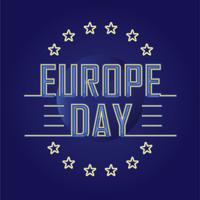 Happy Europe Day Illustration with Neon or Retro Style