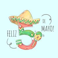 Lindo número Cinco De Mayo con sombrero mexicano