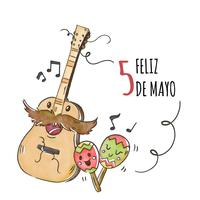 Cute Guitar Character With Maracas And Music Notes